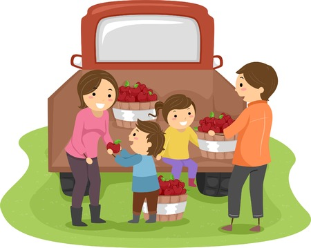 apple clipart: Illustration of a Family Harvesting Apples Together Illustration