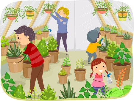 the greenhouse: Illustration of a Family Working on Their Greenhouse Illustration