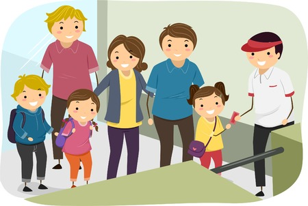 queue people: Illustration of Families Lining Up to Present Their Tickets Illustration