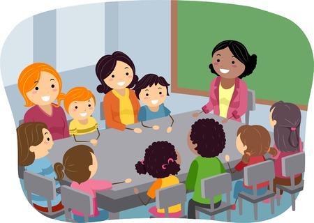 escuela caricatura: Ilustración de los padres y sus niños asistan a una reunión de la PTA