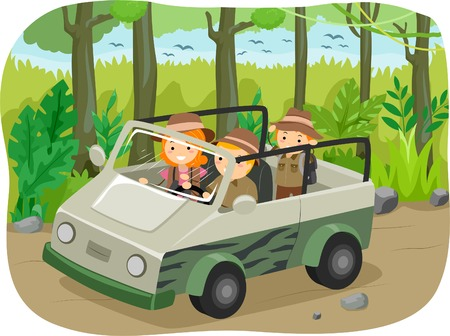 Illustration of a Family on a Safari Tour Vector