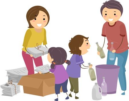 parents and children: Illustration of a Family Segregating Trash