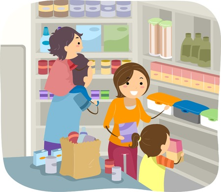 stockpile: Illustration of a Family Stocking Their Shelves with Goods Illustration