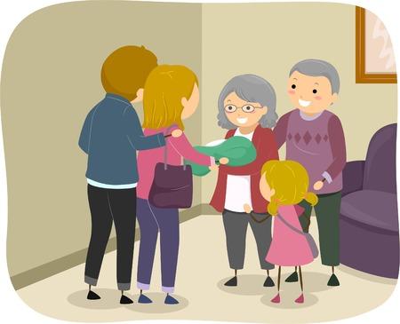 abuela: Ilustración de una familia que visita una pareja de ancianos de Presentar un bebé recién nacido