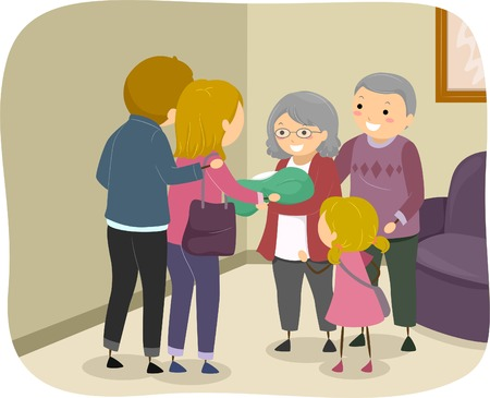 Illustration of a Family Visiting an Elderly Couple to Present a Newborn Baby