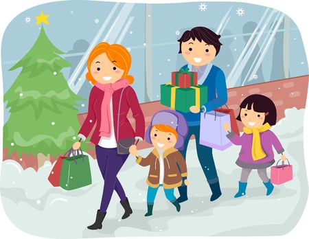 kid shopping: Illustration of a Family Doing Some Christmas Shopping Together