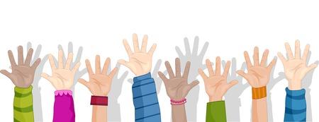 escuela infantil: Recorta la ilustración de fondo Con niños levantando sus manos