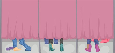 Cropped Illustration Featuring the Feet of Women Changing in the Fitting Room