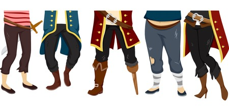 pirate crew: Cropped Illustration Featuring the Feet of a Pirate Crew