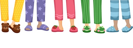 pijama: Ilustración recortada que ofrece una variedad de zapatillas lindas