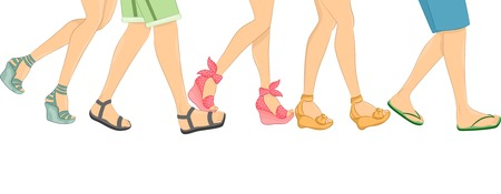 girls feet: Cropped Border Illustration Featuring Walking People Wearing Different Styles of Sandals Illustration