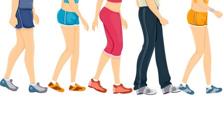 cropped: Cropped Border Illustration Featuring People Wearing Different Styles of Workout Clothes