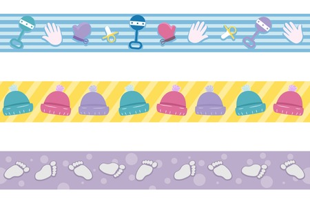 Border Illustration Featuring Different Elements Commonly Associated with Babies Vector