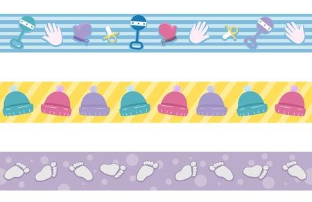 Border Illustration mit verschiedenen Elementen Häufig mit Babys Assoziierte