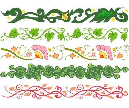 Border Illustration Featuring Different Vine Styles Illustration