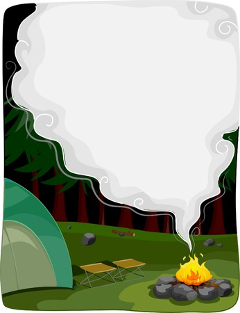 emitting: Background Illustration Featuring a Bonfire Emitting a Thick Smoke