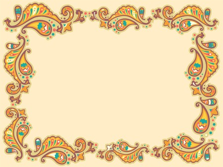 Background Illustration Featuring a Decorated Paisley