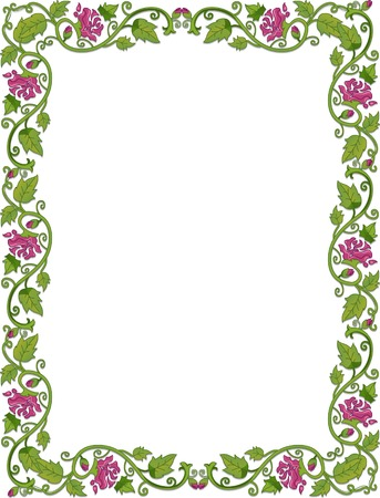 vine border: Background Illustration Featuring Vines Accented with Flowers Illustration
