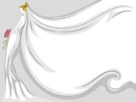 bridal veil: Background Illustration Featuring a Fluttering Bridal Veil