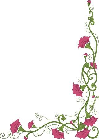 wrapped around: Corner Border Illustration Featuring Flowers Wrapped Around in Vines Illustration