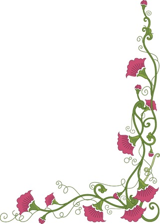 Corner Border Illustration Featuring Flowers Wrapped Around in Vines Illustration