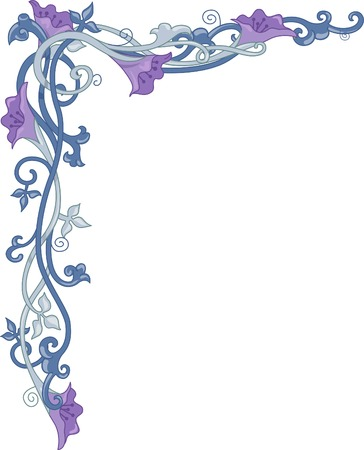 Corner Border Illustration Featuring Flowers Wrapped Around in Vines Illustration