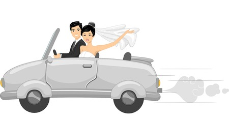 Illustration Featuring Newlyweds in a Bridal Car Vector