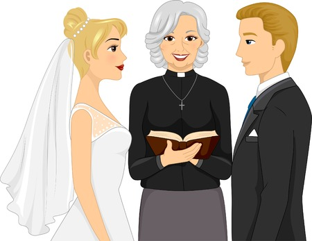 vows: Back View Illustration of a Female Priest Officiating a Wedding Ceremony