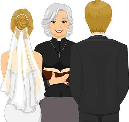 clergy: Back View Illustration of a Female Priest Officiating a Wedding Ceremony