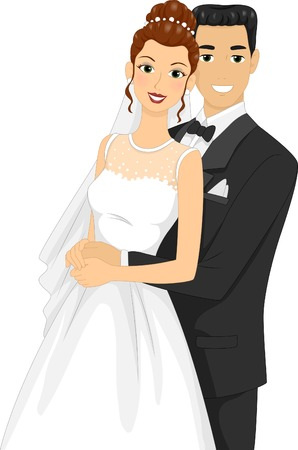 Illustration of Newlyweds Posing for a Wedding Photo Vector