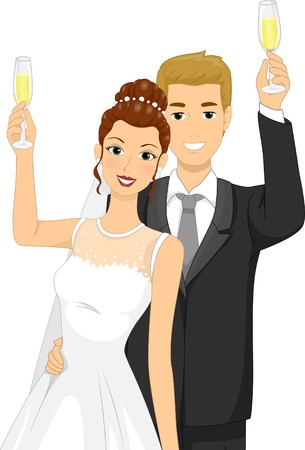 clinking: Illustration of a Newlywed Couple Doing a Toast Illustration
