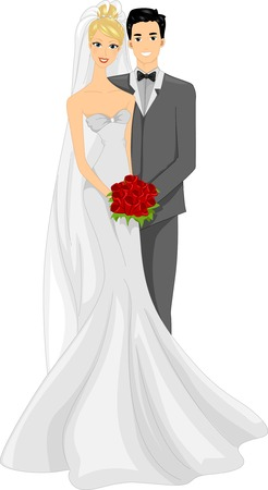 Illustration of a Newlywed Couple Posing for a Photo Vector