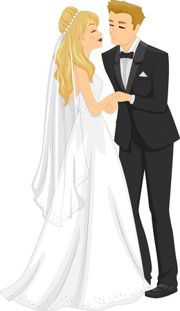 Illustration of a Newlywed Couple About to Kiss Illustration
