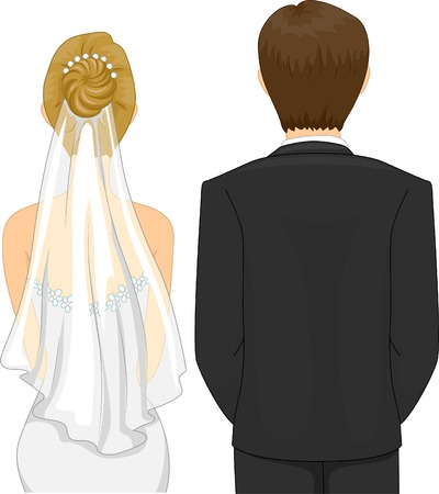 Back View Illustration of a Bride and Groom in a Wedding Ceremony Vector