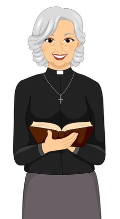 clergy: Ilustraci�n de un Sacerdote sexo femenino que sostiene una Biblia Vectores