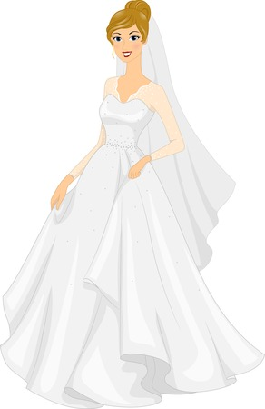 bridal gown: Illustration of a Bride Posing in Her Bridal Gown Illustration