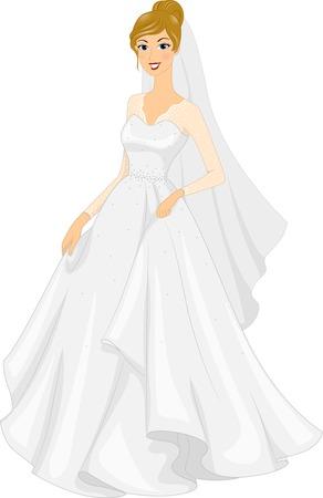 wedding  art: Illustration of a Bride Posing in Her Bridal Gown Illustration