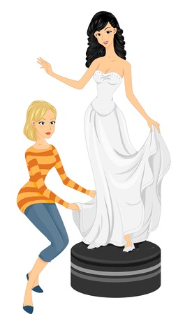 bridal gown: Illustration of a Bride to be Fitting Her Bridal Gown