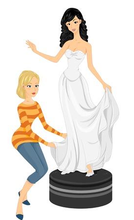 bridal gown: Ilustraci�n de una novia que se Fitting Su vestido de novia Vectores