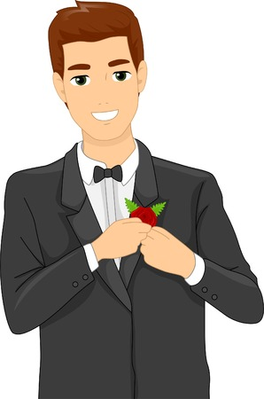 corsage: Illustration of a Groom Putting a Corsage on His Suit Illustration