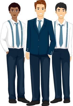 cartoon adult: Illustration Featuring Groomsmen Wearing Formal Attire