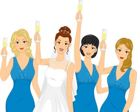Illustration Featuring Bridesmaids Raising a Toast Vector