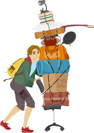 belongings: Illustration of a Male College Student Moving into the Dorms Illustration
