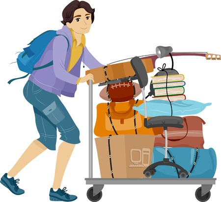 move in: Illustration of a Male College Student Moving into the Dormitory Illustration