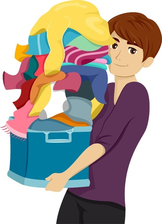 Student Life: Illustration of a Male College Student Carrying a Pile of Laundry