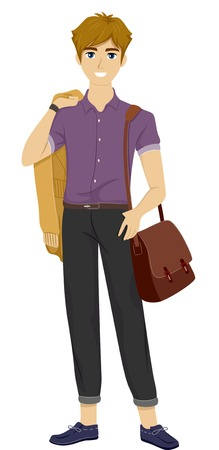 trendy male: Illustration of a Male Teenager Wearing Trendy Clothes Illustration