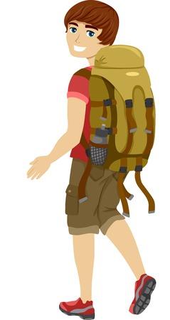 Ilustración de un adolescente que desgasta masculino engranaje que acampa