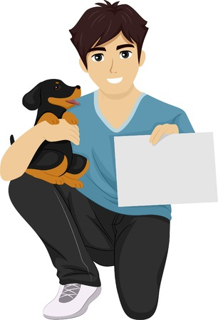 Illustration of a Male Teen Holding a Cute Puppy in One Hand and a Training Certificate on the Other Hand Vector