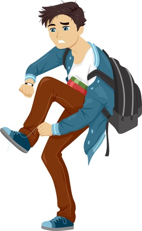 Illustratie van een mannelijke tiener in een haast om naar school