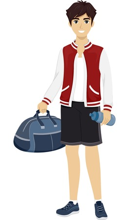 duffel: Illustration of a Male Teenager Wearing a Sporty Outfit and Carrying a Duffel Bag
